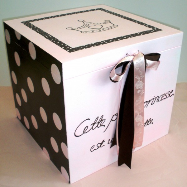 Κουτί βάπτισης Πριγκίπισσα (ροζ- καφέ) VK029