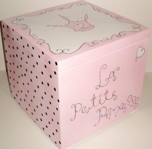 Κουτί βάπτισης Πριγκίπισσα (ροζ-μαύρο) VK030