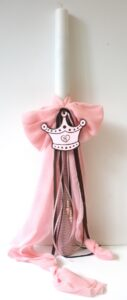 Λαμπάδα βάπτισης Πριγκίπισσα (ροζ- καφέ) VL004-16
