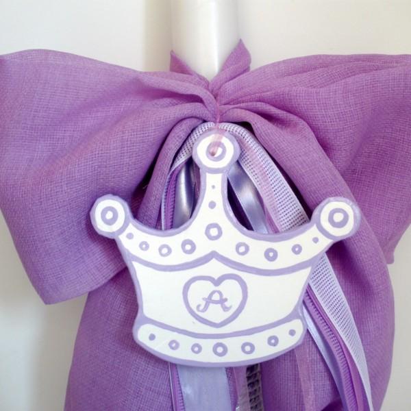 Λαμπάδα βάπτισης Πριγκίπισσα (λιλά) VL004-9