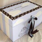 Κουτί βάπτισης Αυτοκινητάκι (γαλάζιο- καφέ) VK005