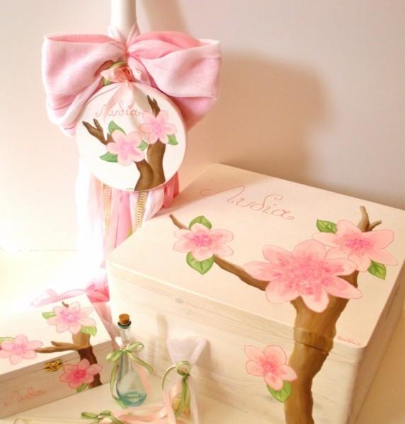 """Βάπτιση με θέμα """"Λουλούδια"""", οικολογικό κουτί VS007"""
