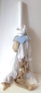 Λαμπάδα βάπτισης Φτερωτή καρδιά (οικολογικό σετ) VL004-26