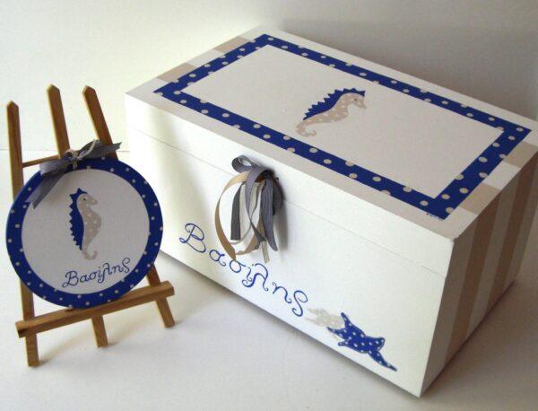 Κουτί βάπτισης Ιππόκαμπος Μπλε VK049