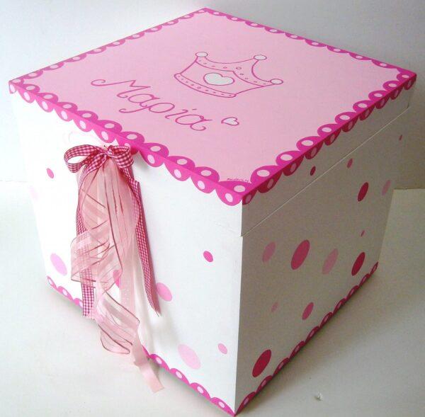 Κουτί βάπτισης Κορώνα (φουξ πουά) VK057