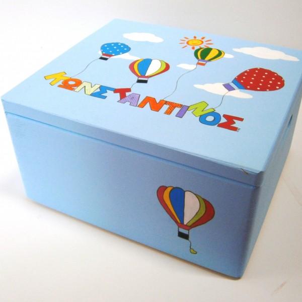 Κουτί βάπτισης Αερόστατο γαλάζιο VK060