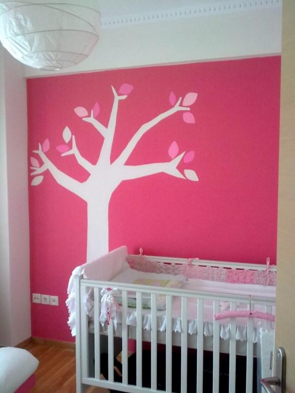 Παιδική τοιχογραφία Ροζ Δέντρο PT006