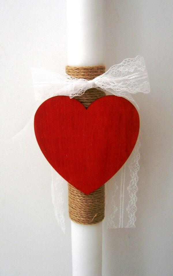 Λαμπάδα βάπτισης Κόκκινη καρδιά VL004-46