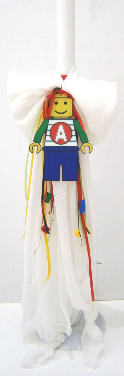 Λαμπάδα βάπτισης στολισμένη με τουβλάκια Lego VL004-49