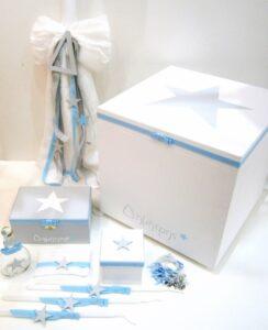 """Είδη βάπτισης με θέμα """"Αστέρι"""" γκρι- γαλάζιο VS070"""