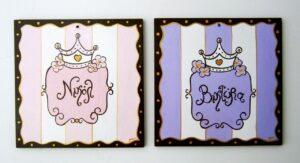 Παιδικό ταμπελάκι πόρτας Πριγκίπισσα στα ριγέ DTP024