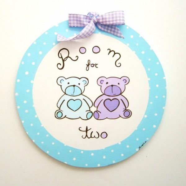 Παιδικό ταμπελάκι Δίδυμα αρκουδάκια DTP064