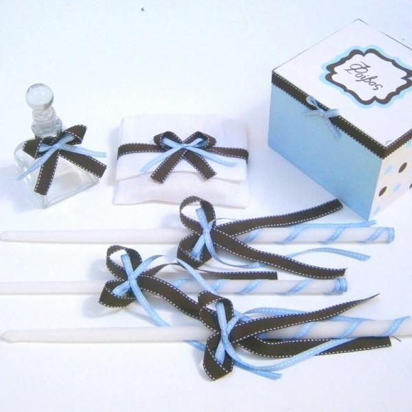 Σετ λαδικών σε καφέ γαλάζιο χρώμα VL001-47