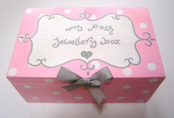Ζωγραφιστό κουτί Ροζ Polka Dots - Κοσμηματοθήκη DZK015