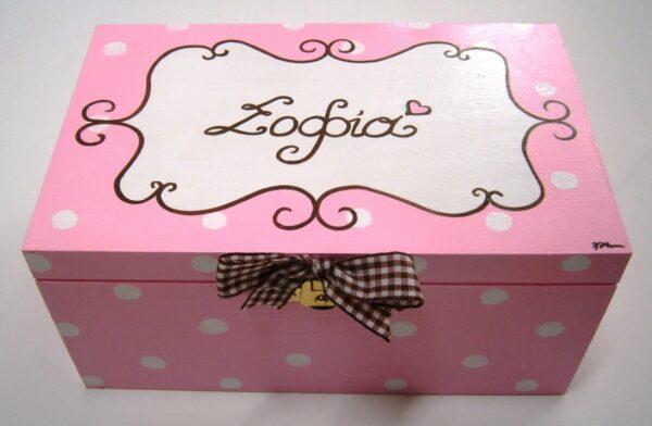 Ζωγραφιστό κουτί Ροζ Polka Dots DZK017