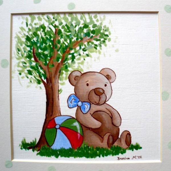 Παιδικός πίνακας Αρκουδάκι και Δέντρο DPP009