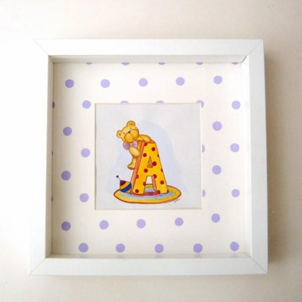 Παιδικός πίνακας Αρκουδάκι & Αρχικό για κορίτσι DPP086