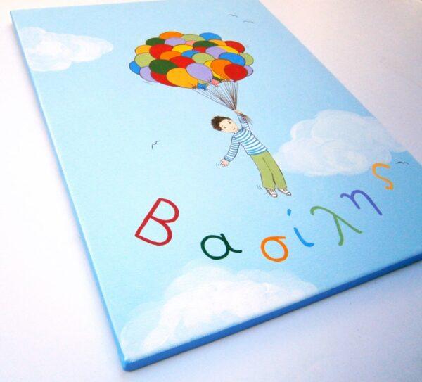 """Πίνακας για παιδικό δωμάτιο αγοριού """"Μπαλόνια"""" DPP097"""