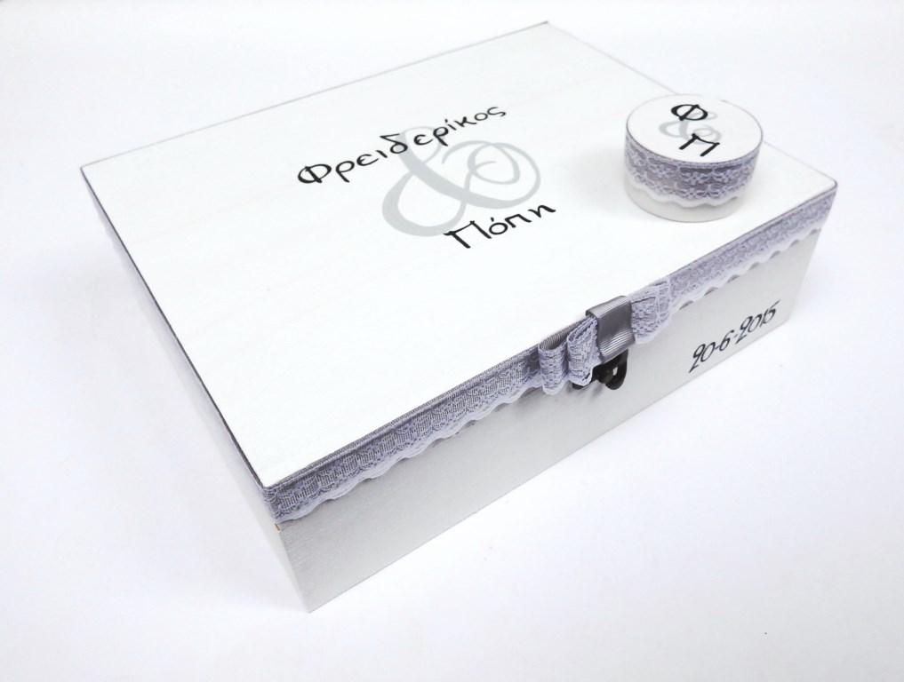 Ζωγραφιστή στεφανοθήκη Λευκό γκρι WS013