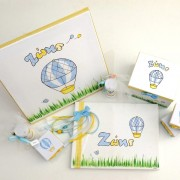 Χειροποίητο Βιβλίο ευχών «Αερόστατο» μπλε κίτρινο  BE018