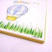 Ζωγραφιστός στο χέρι παιδικός πίνακας «Αερόστατο «(μπλε-κίτρινο) DPP111