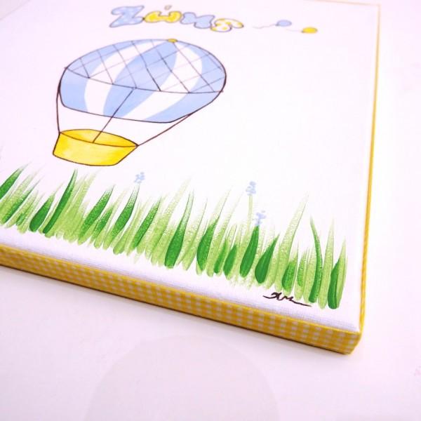 """Ζωγραφιστός στο χέρι παιδικός πίνακας """"Αερόστατο """"(μπλε-κίτρινο) DPP111"""