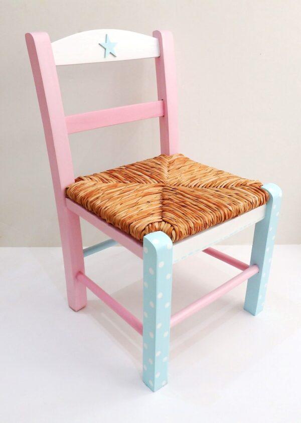 Παιδική καρεκλίτσα ροζ αστέρι τιρκουάζ DE031