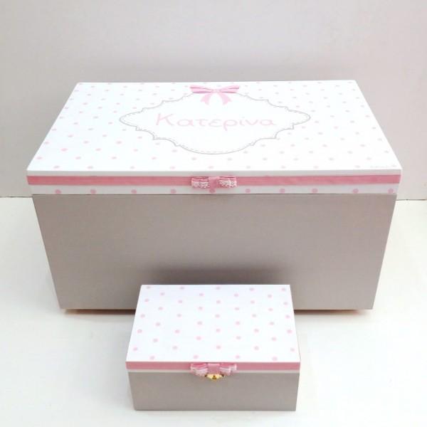 Κουτί βάπτισης Baroque γκρι ροζ VK074