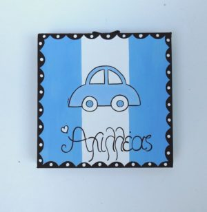 """Παιδικός πίνακας """"Αυτοκινητάκι"""" (μπλε ριγέ) DPP114"""