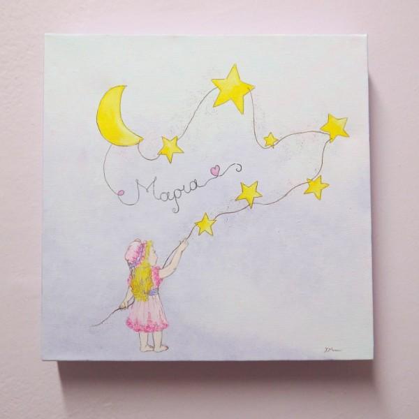 """Παιδικός πίνακας """"Κοριτσάκι και Αστέρια"""" DPP116"""
