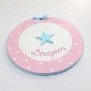 Xειροποίητο Παιδικό ταμπελάκι «Ροζ-Τιρκούαζ Αστέρι» DTP087