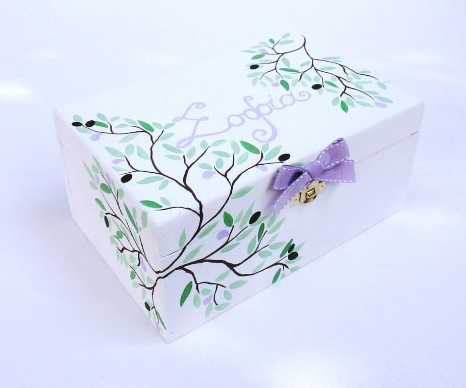 """Ζωγραφιστό κουτί κοσμηματοθήκη """"Eλιά"""" DZK046"""