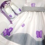 Δερμάτινα παπουτσάκια αγκαλιάς πεταλούδα λιλά  BP061
