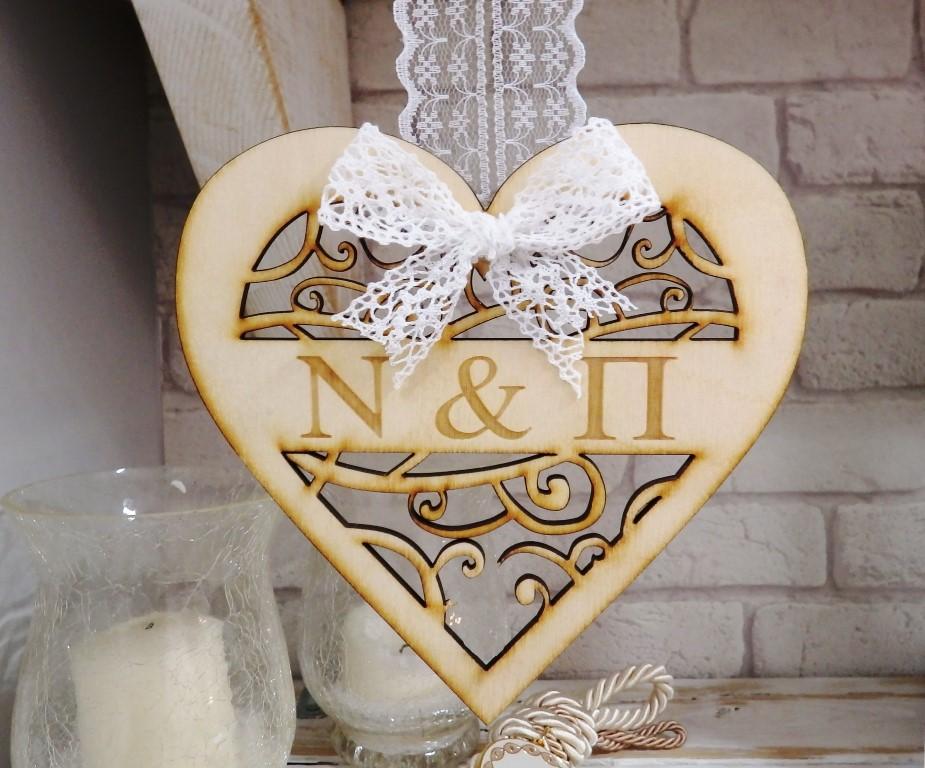 Ταμπελάκι γάμου ξύλινη καρδιά - WTP009