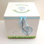 Κουτί βάπτισης αερόστατο γκρι γαλάζιο – VK083-1