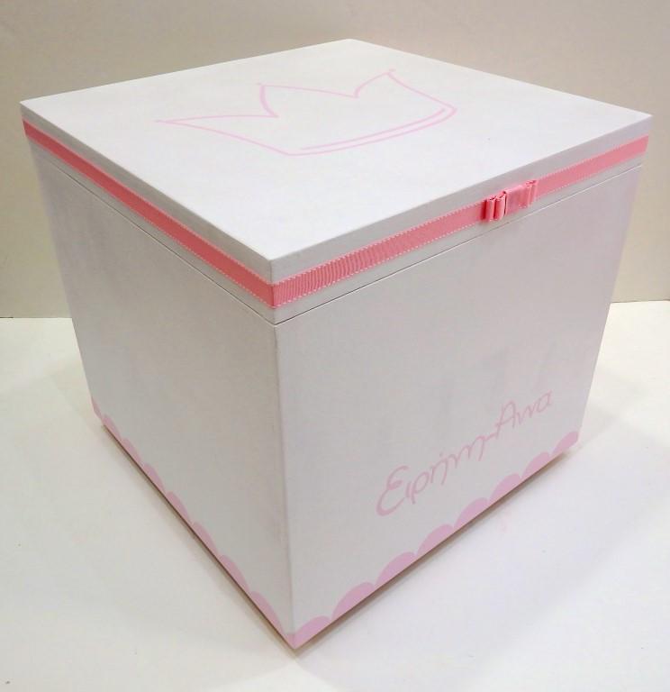 Κουτί βάπτισης Κορώνα ροζ - VK080
