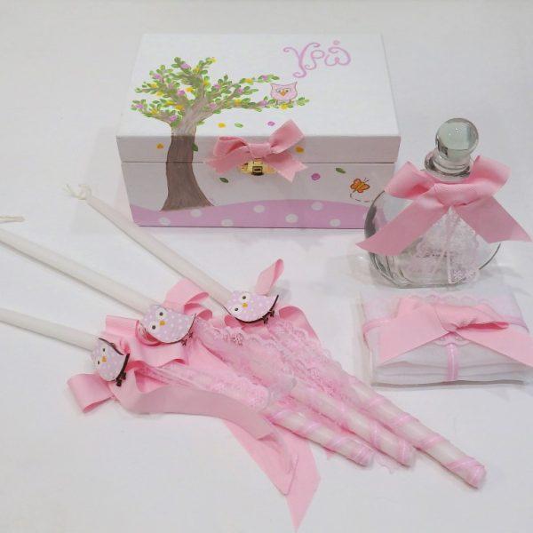 Σετ λαδικών κουκουβάγια ροζ- VL001-60