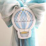 Λαμπάδα βάπτισης «Aερόστατο γαλάζιο-γκρι» VL004-63