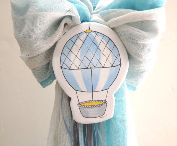 """Λαμπάδα βάπτισης """"Aερόστατο γαλάζιο-γκρι"""" VL004-63"""