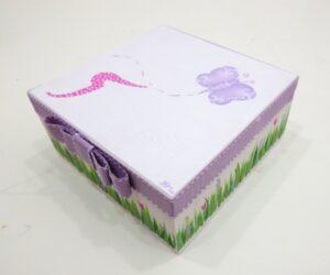 Χειροποίητη κασετίνα μαρτυρικών Πεταλούδες πολύχρωμες VL003-27