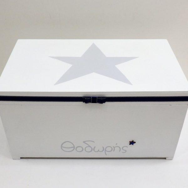 Χειροποίητο κουτί βαπτιστικών Αστέρι μπλε-γκρι VK087