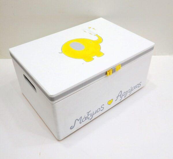 Χειροποίητο κουτί βάπτισης Ελεφαντάκι VK089