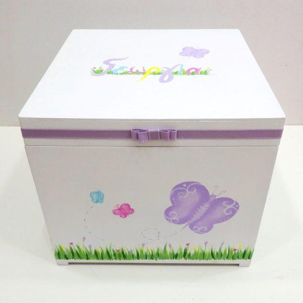Χειροποίητο κουτί βάπτισης Πεταλούδα πολύχρωμο VK093