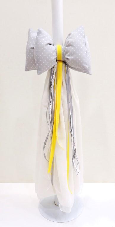 Λαμπάδα βάπτισης Ελεφαντάκι γκρι - κίτρινο VL004-67