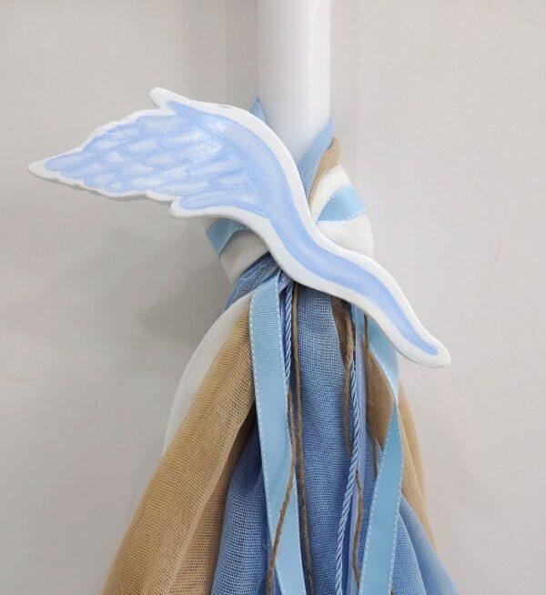 Λαμπάδα βάπτισης Γαλάζιο Φτερό VL004-68