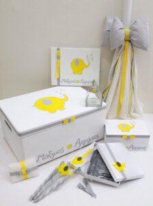 Σετ βάπτισης ελεφαντάκι γκρι - κίτρινο VS091