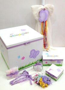 Σετ βάπτισης πεταλούδα πολύχρωμο VS094