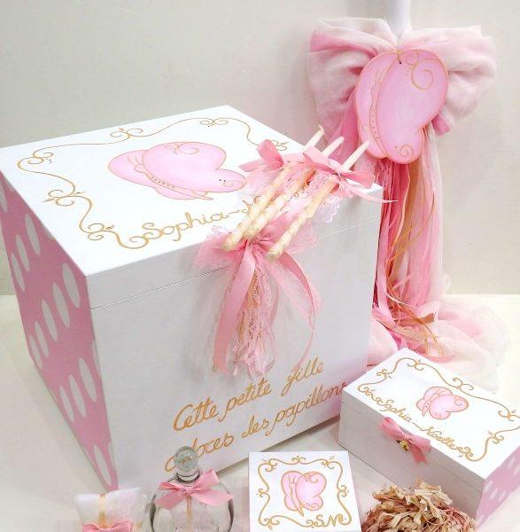 Σετ βάπτισης πεταλούδα σε ροζ - χρυσό VS095
