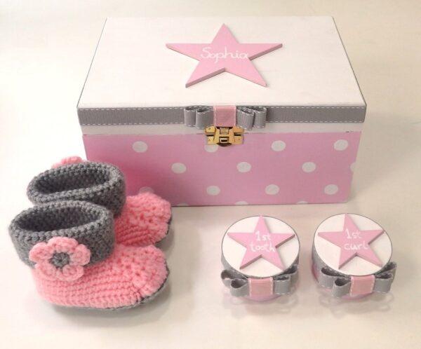 Σετ δώρου για νεογέννητα - Αστεράκι ροζ γκρι - NBG089