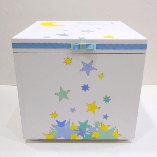 Χειροποίητο Κουτί βάπτισης Φεγγάρι και Αστεράκια-VK094